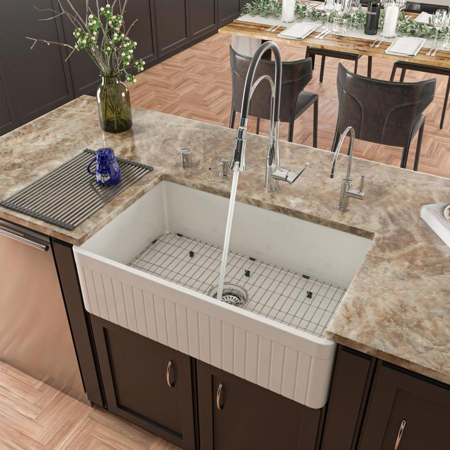 Alfi Brand Farmhouse Apron Front 33 In X 20 In White Single Bowl Kitchen Sink In The Kitchen Sinks Department At Lowes Com