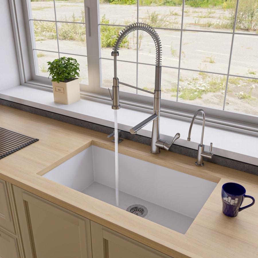 Kitchen Sink 19 X 33: ALFI Brand 33-in X 19.38-in White Single-Basin Undermount