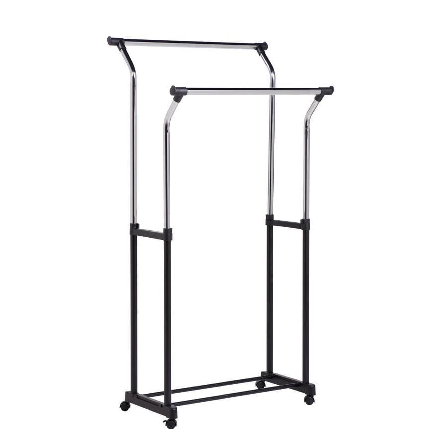itm clothing wood w black industrial storage rolling pipe metal rack hangrail