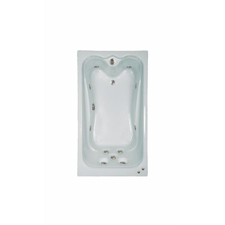 Watertech Whirlpool Baths Elite 59.625-in White Acrylic Drop-In Whirlpool Tub with Reversible Drain