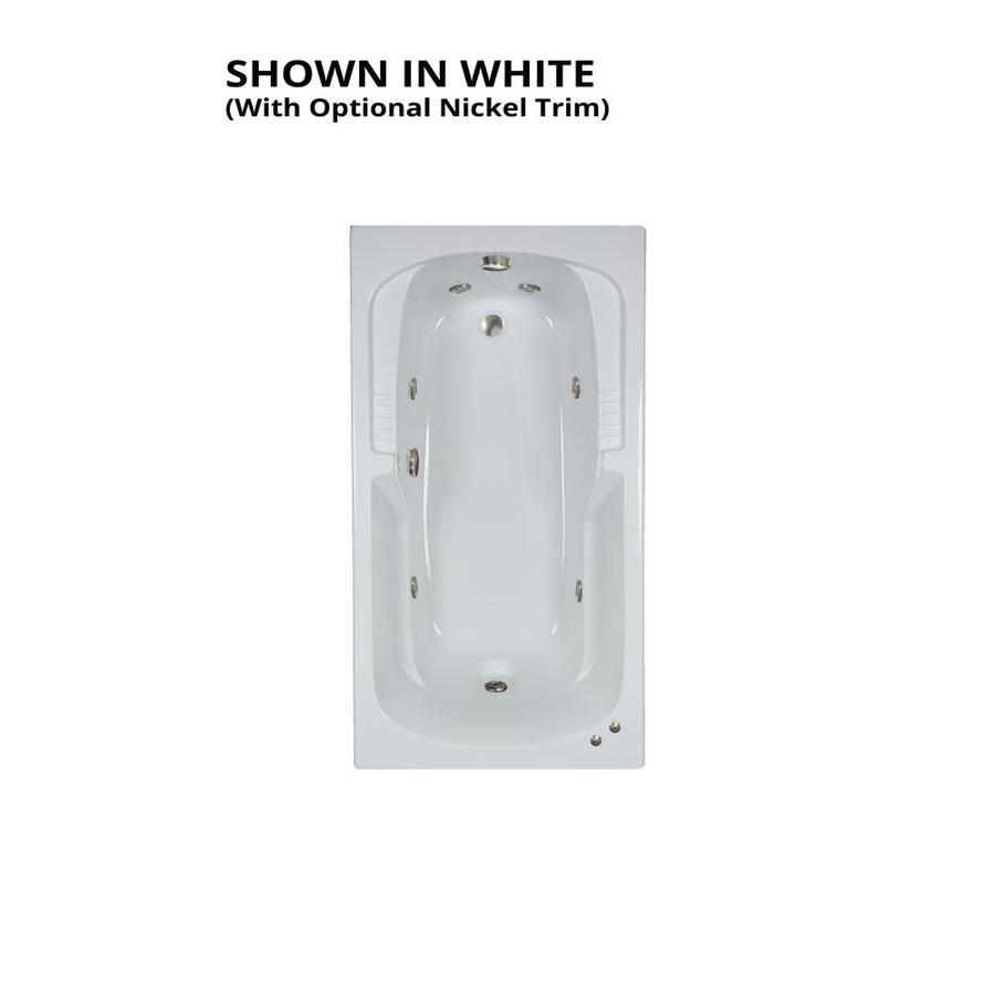 Watertech Whirlpool Baths Warertech 59.375-in White Acrylic Drop-In Whirlpool Tub with Reversible Drain