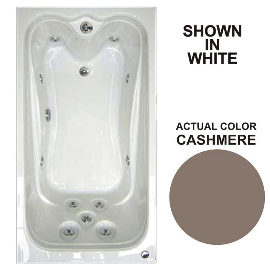 Watertech Whirlpool Baths Elite 59.75-in Cashmere Acrylic Drop-In Whirlpool Tub with Reversible Drain
