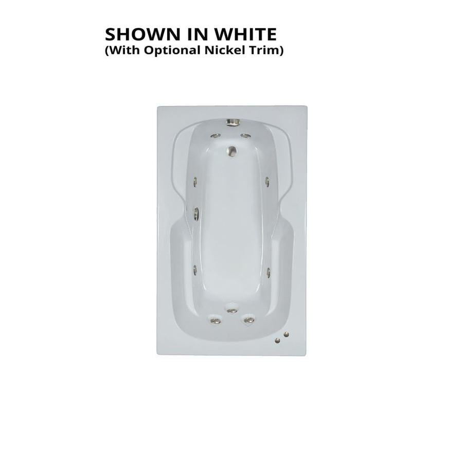Watertech Whirlpool Baths 59.5-in White Acrylic Drop-In Whirlpool Tub with Reversible Drain