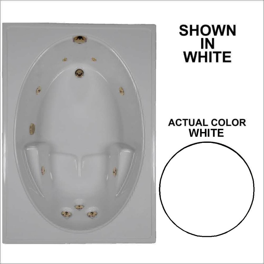 Watertech Whirlpool Baths White Acrylic Oval In Rectangle Whirlpool Tub (Common: 42-in x 60-in; Actual: 19-in x 41.5-in x 59.75-in)