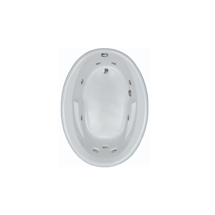 Watertech Whirlpool Baths 59.625-in White Acrylic Drop-In Whirlpool Tub with Reversible Drain