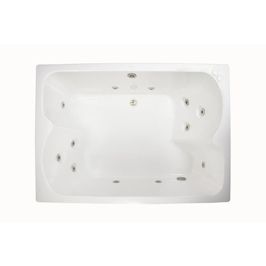 Watertech Whirlpool Baths 59.75-in White Acrylic Drop-In Whirlpool Tub with Reversible Drain