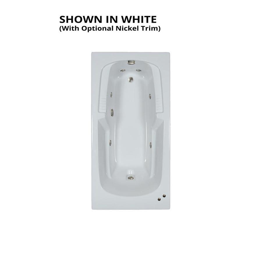 Watertech Whirlpool Baths Warertech 72-in White Acrylic Drop-In Whirlpool Tub with Reversible Drain