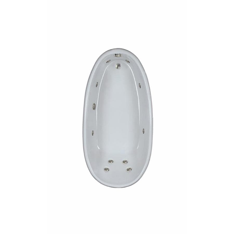 Watertech Whirlpool Baths Designer 72-in White Acrylic Drop-In Whirlpool Tub with Reversible Drain