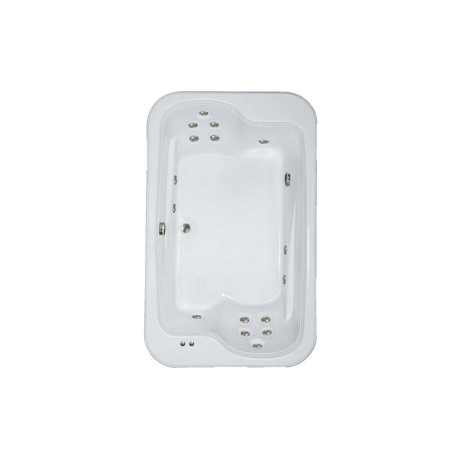 Watertech Whirlpool Baths Designer 71.5-in White Acrylic Drop-In Whirlpool Tub with Reversible Drain