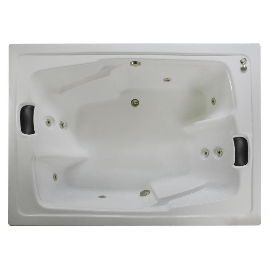 Watertech Whirlpool Baths Designer 2-Person White Acrylic Rectangular Whirlpool Tub (Common: 54-in x 72-in; Actual: 20.625-in x 53.625-in x 71.5-in)
