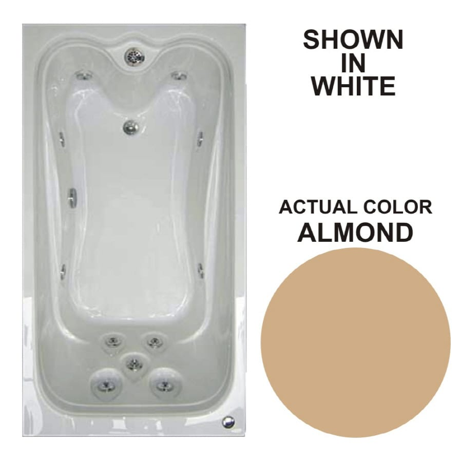 Watertech Whirlpool Baths Elite 59.625-in Almond Acrylic Drop-In Whirlpool Tub with Reversible Drain