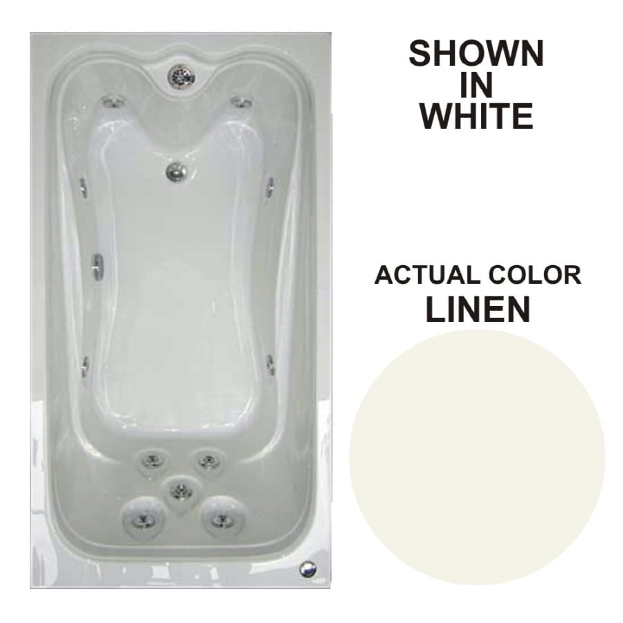 Watertech Whirlpool Baths Elite 59.625-in Linen Acrylic Drop-In Whirlpool Tub with Reversible Drain