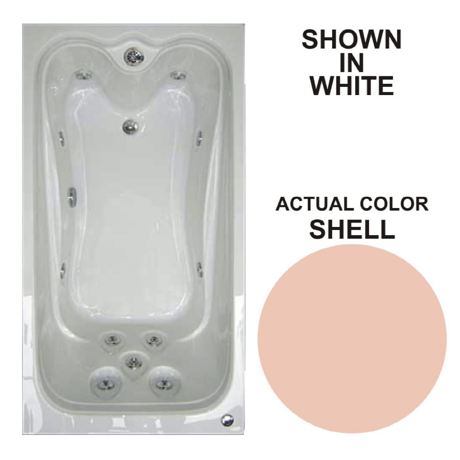 Watertech Whirlpool Baths Elite 59.625-in Shell Acrylic Drop-In Whirlpool Tub with Reversible Drain