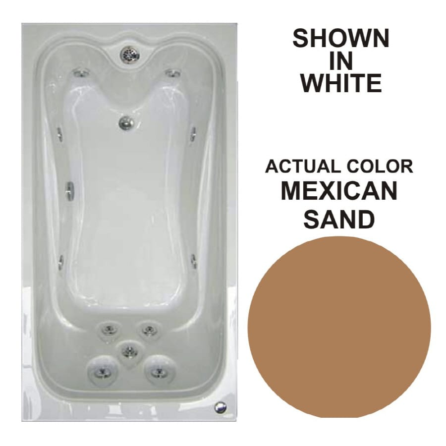 Watertech Whirlpool Baths Elite 59.625-in Mexican Sand Acrylic Drop-In Whirlpool Tub with Reversible Drain
