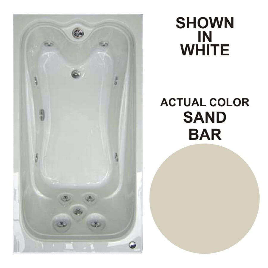 Watertech Whirlpool Baths Elite 59.625-in Sandbar Acrylic Drop-In Whirlpool Tub with Reversible Drain