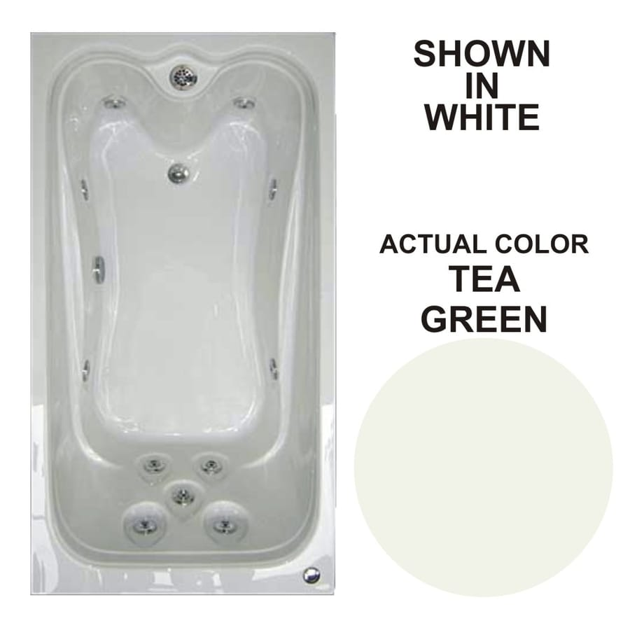 Watertech Whirlpool Baths Elite 59.625-in Tea Green Acrylic Drop-In Whirlpool Tub with Reversible Drain