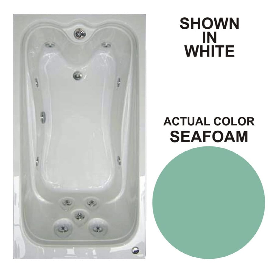 Watertech Whirlpool Baths Elite 59.625-in Seafoam Acrylic Drop-In Whirlpool Tub with Reversible Drain