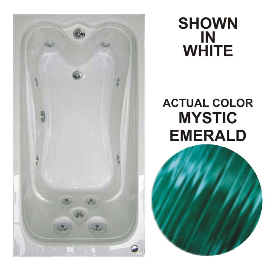 Watertech Whirlpool Baths Elite 59.625-in Mystic Emerald Acrylic Drop-In Whirlpool Tub with Reversible Drain