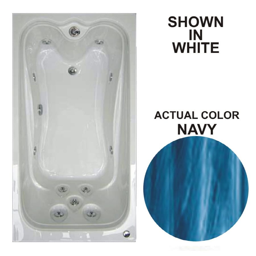 Watertech Whirlpool Baths Elite 59.625-in Navy Acrylic Drop-In Whirlpool Tub with Reversible Drain