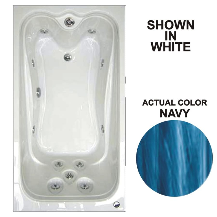 Watertech Whirlpool Baths Elite 59.75-in Navy Acrylic Drop-In Whirlpool Tub with Reversible Drain