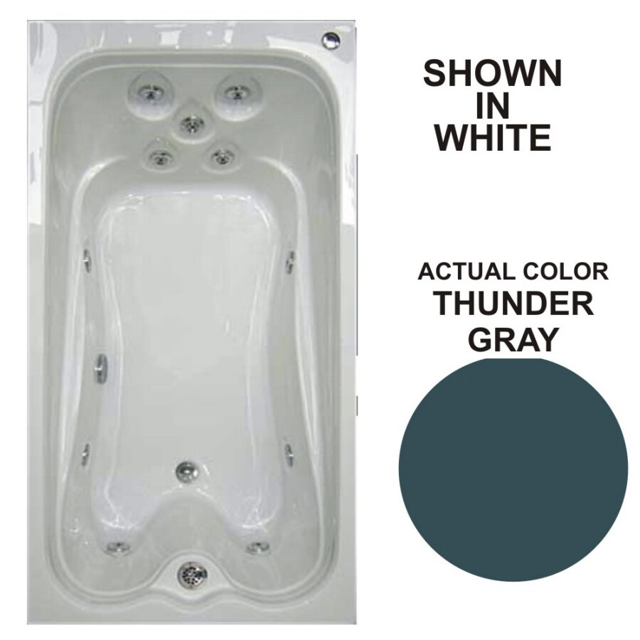 Watertech Whirlpool Baths Warertech 72-in Thunder Gray Acrylic Drop-In Whirlpool Tub with Reversible Drain