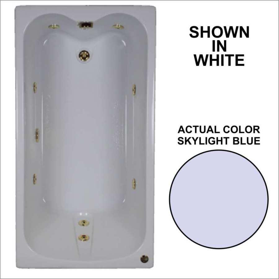 Watertech Whirlpool Baths 59.75-in Skylight Blue Acrylic Drop-In Whirlpool Tub with Reversible Drain