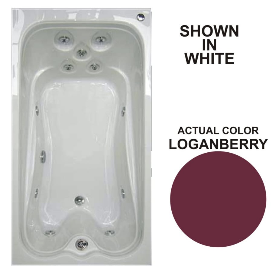 Watertech Whirlpool Baths Warertech Loganberry Acrylic Rectangular Whirlpool Tub (Common: 36-in x 72-in; Actual: 21.5-in x 36-in x 72-in)