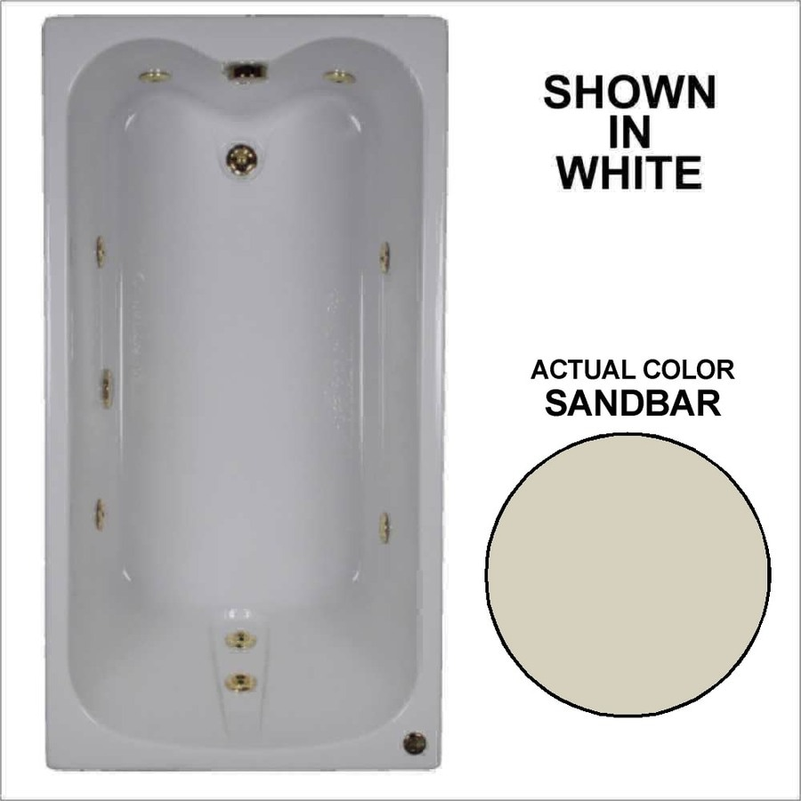 Watertech Whirlpool Baths Sandbar Acrylic Rectangular Whirlpool Tub (Common: 32-in x 60-in; Actual: 22.5-in x 31.75-in x 59.75-in)