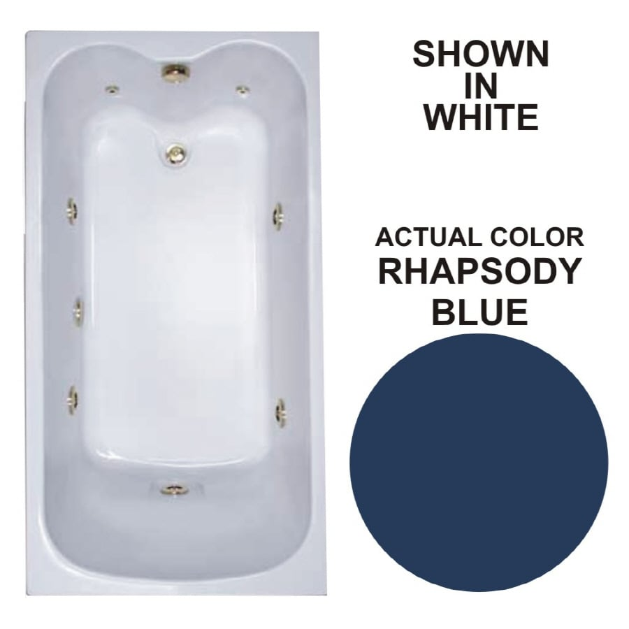 Watertech Whirlpool Baths Warertech Rhapsody Blue Acrylic Rectangular Whirlpool Tub (Common: 32-in x 60-in; Actual: 22.5-in x 31.75-in x 59.75-in)