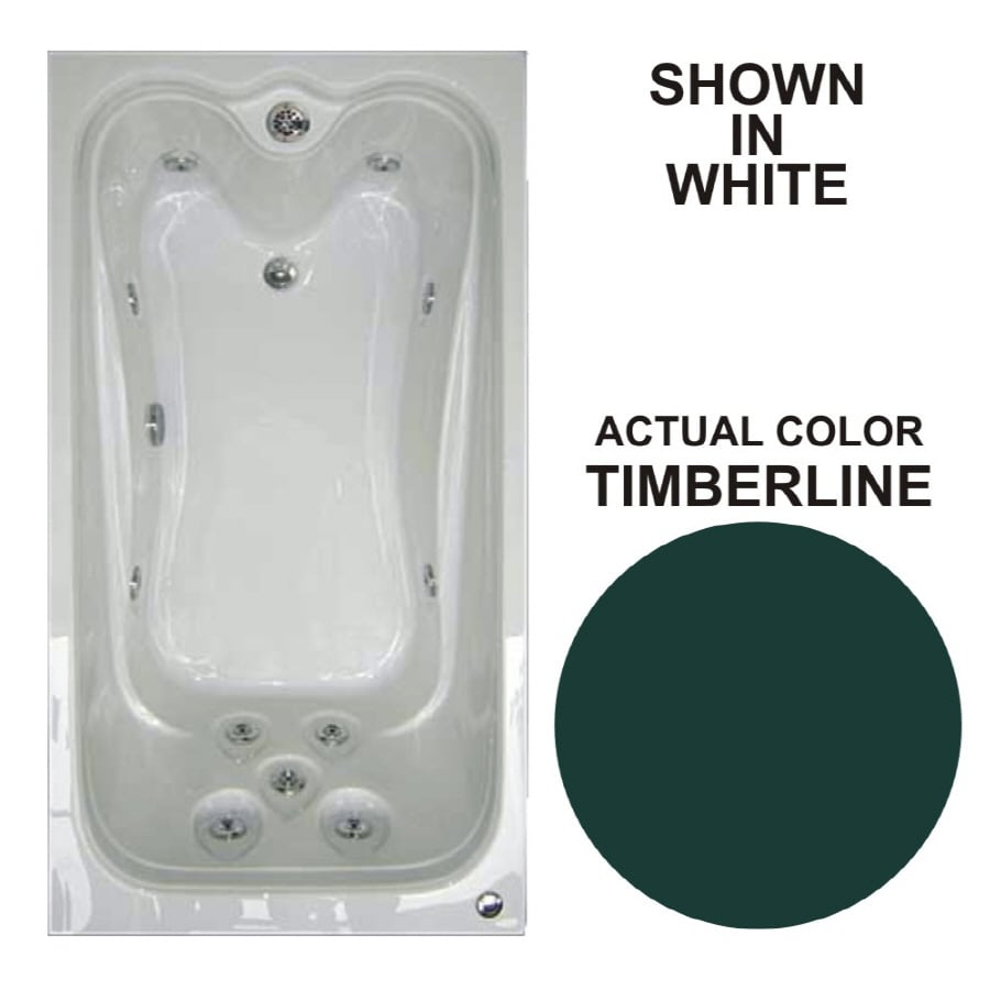 Watertech Whirlpool Baths Elite 59.625-in Timberline Acrylic Drop-In Whirlpool Tub with Reversible Drain