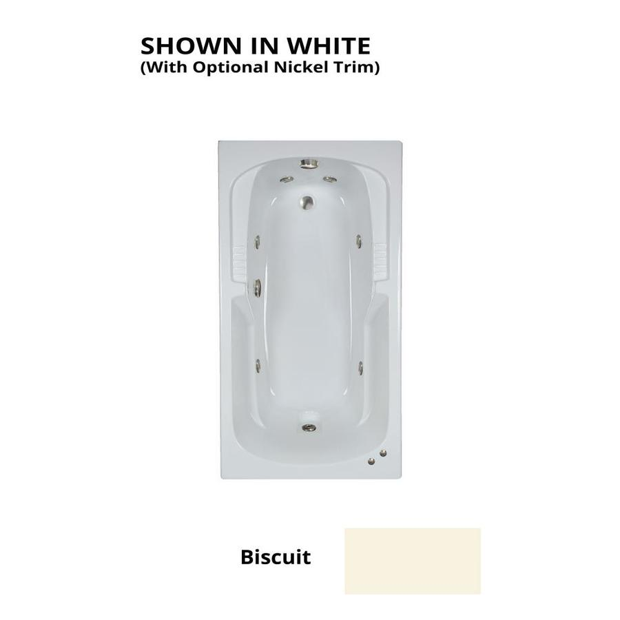 Watertech Whirlpool Baths Warertech 59.375-in Biscuit Acrylic Drop-In Whirlpool Tub with Reversible Drain