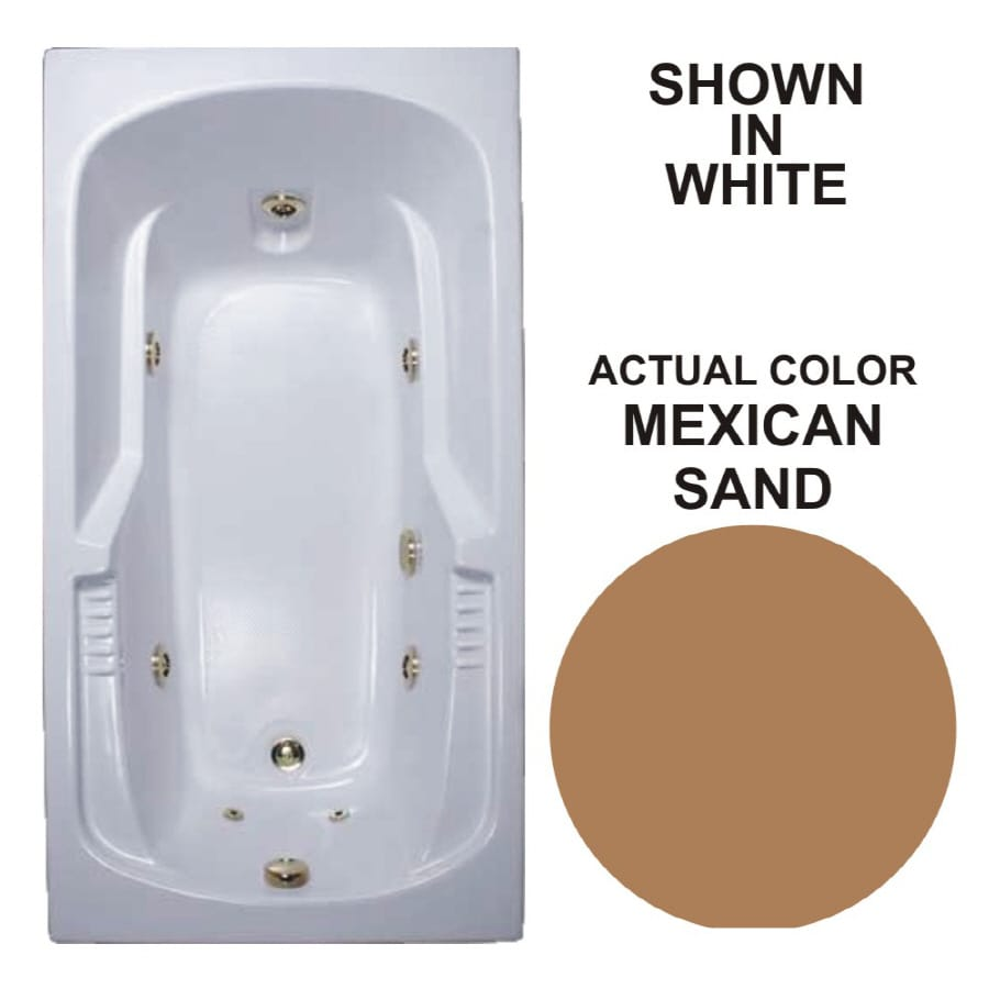 Watertech Whirlpool Baths Warertech 59.375-in Mexican Sand Acrylic Drop-In Whirlpool Tub with Reversible Drain