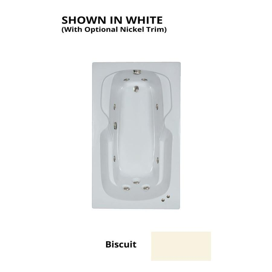 Watertech Whirlpool Baths 59.5-in Biscuit Acrylic Drop-In Whirlpool Tub with Reversible Drain