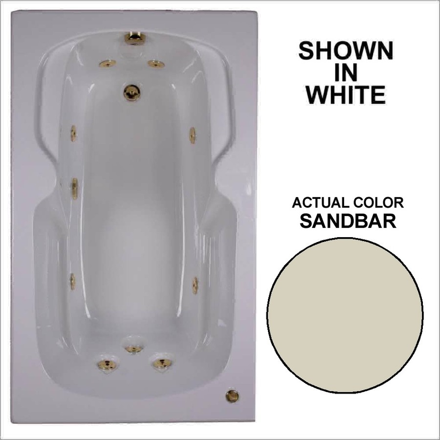 Watertech Whirlpool Baths 59.5-in Sandbar Acrylic Drop-In Whirlpool Tub with Reversible Drain
