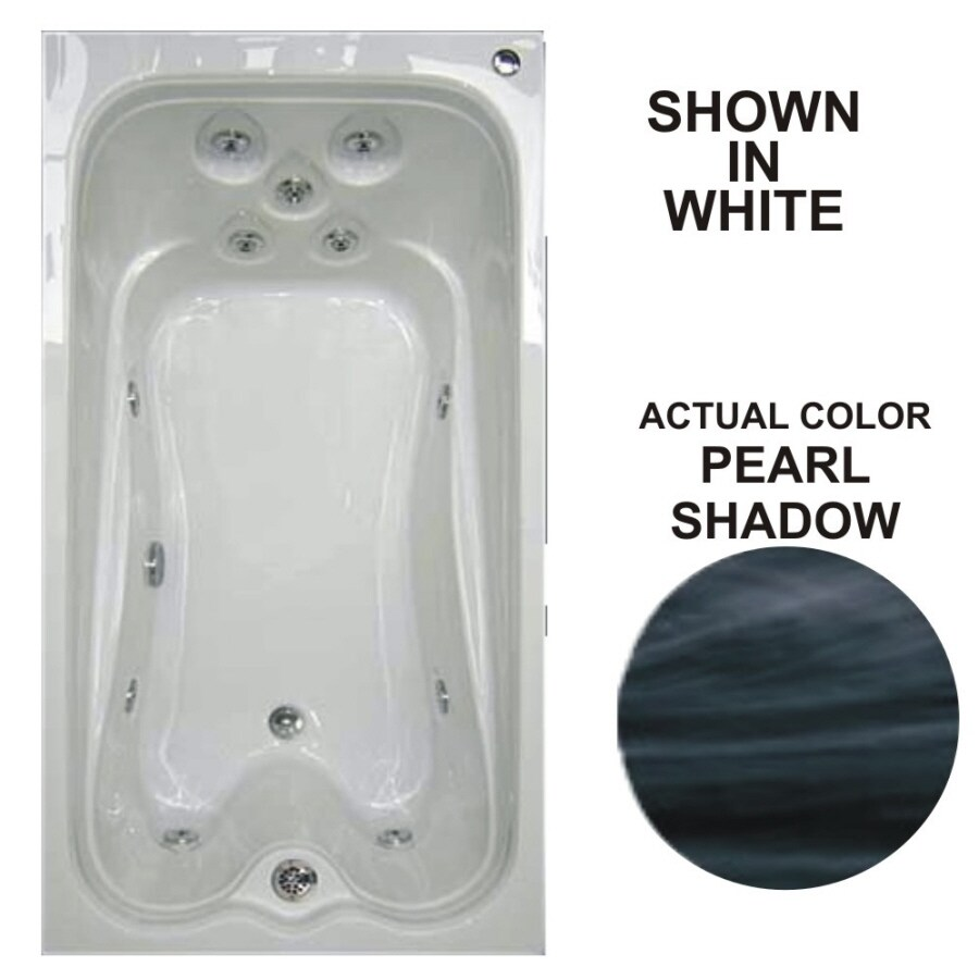 Watertech Whirlpool Baths Warertech Pearl Shadow Acrylic Rectangular Whirlpool Tub (Common: 36-in x 72-in; Actual: 21.5-in x 36-in x 72-in)