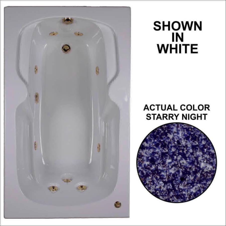 Watertech Whirlpool Baths 59.5-in Starry Night Acrylic Drop-In Whirlpool Tub with Reversible Drain