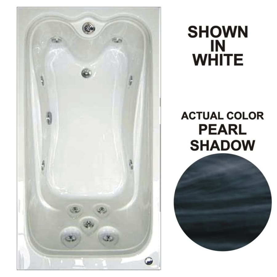 Watertech Whirlpool Baths Elite 59.75-in Pearl Shadow Acrylic Drop-In Whirlpool Tub with Reversible Drain