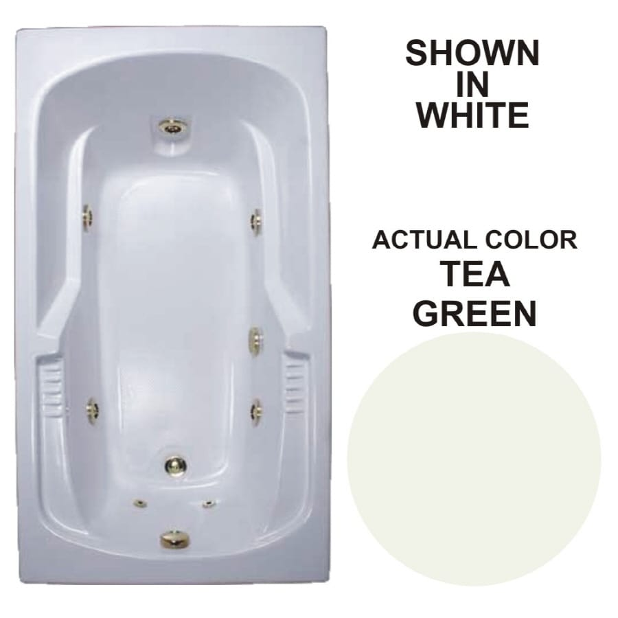 Watertech Whirlpool Baths Tea Green Acrylic Rectangular Whirlpool Tub (Common: 36-in x 60-in; Actual: 20-in x 35.75-in x 59.5-in)