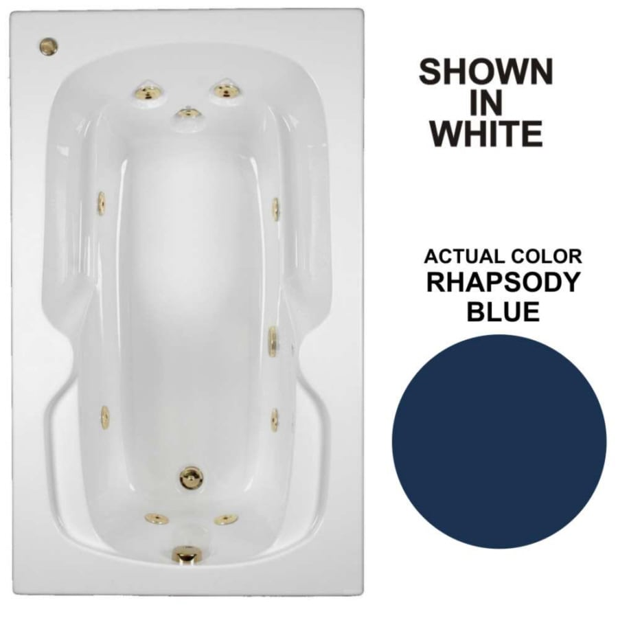 Watertech Whirlpool Baths 59.5-in Rhapsody Blue Acrylic Drop-In Whirlpool Tub with Reversible Drain