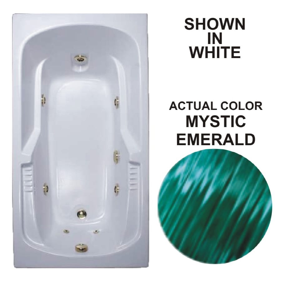 Watertech Whirlpool Baths Warertech Mystic Emerald Acrylic Rectangular Whirlpool Tub (Common: 32-in x 60-in; Actual: 20-in x 31.5-in x 59.375-in)
