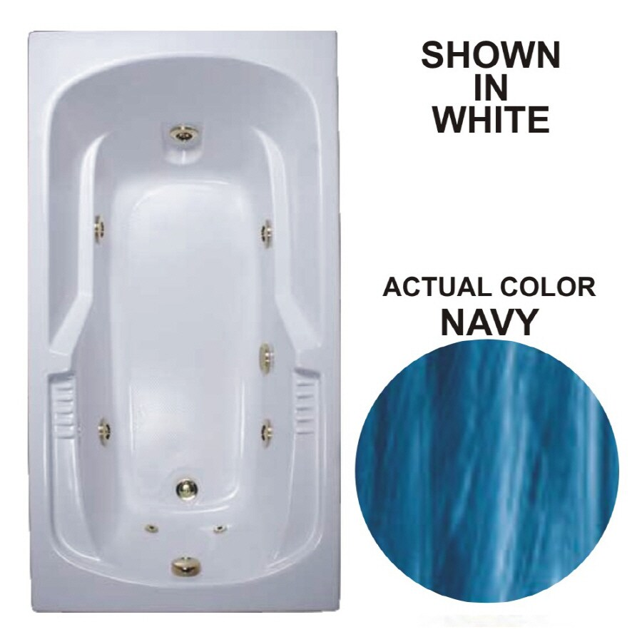 Watertech Whirlpool Baths Warertech Navy Acrylic Rectangular Whirlpool Tub (Common: 32-in x 60-in; Actual: 20-in x 31.5-in x 59.375-in)