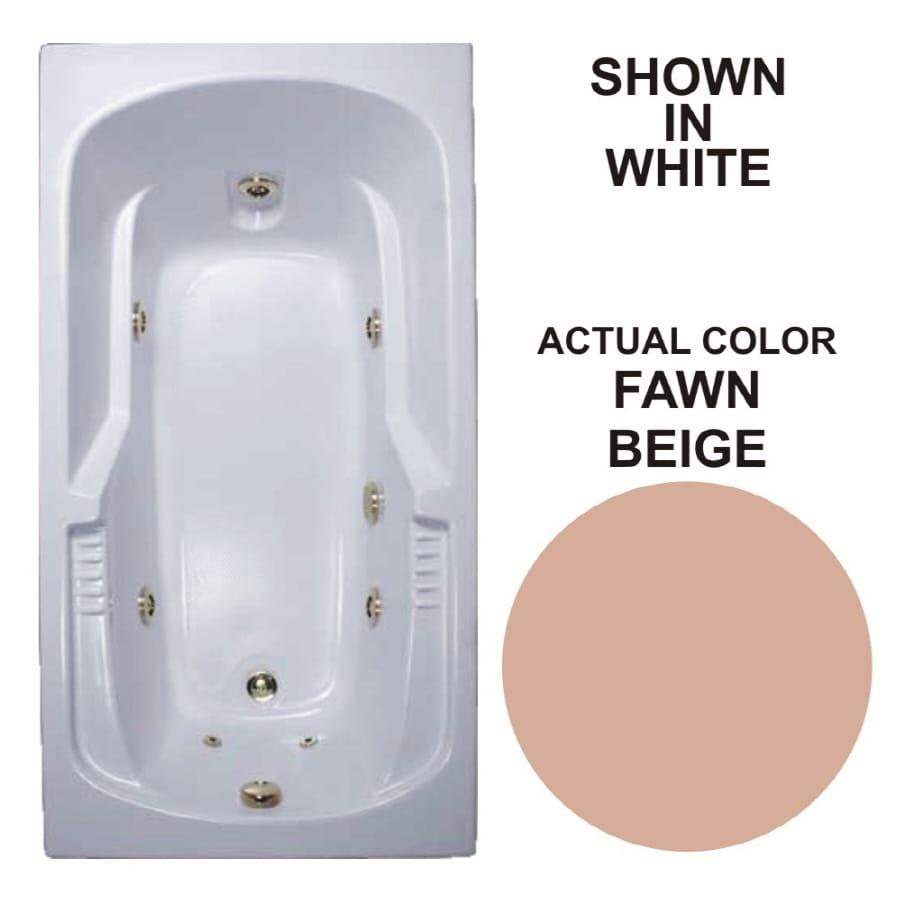 Watertech Whirlpool Baths Warertech 59.375-in Fawn Beige Acrylic Drop-In Whirlpool Tub with Reversible Drain