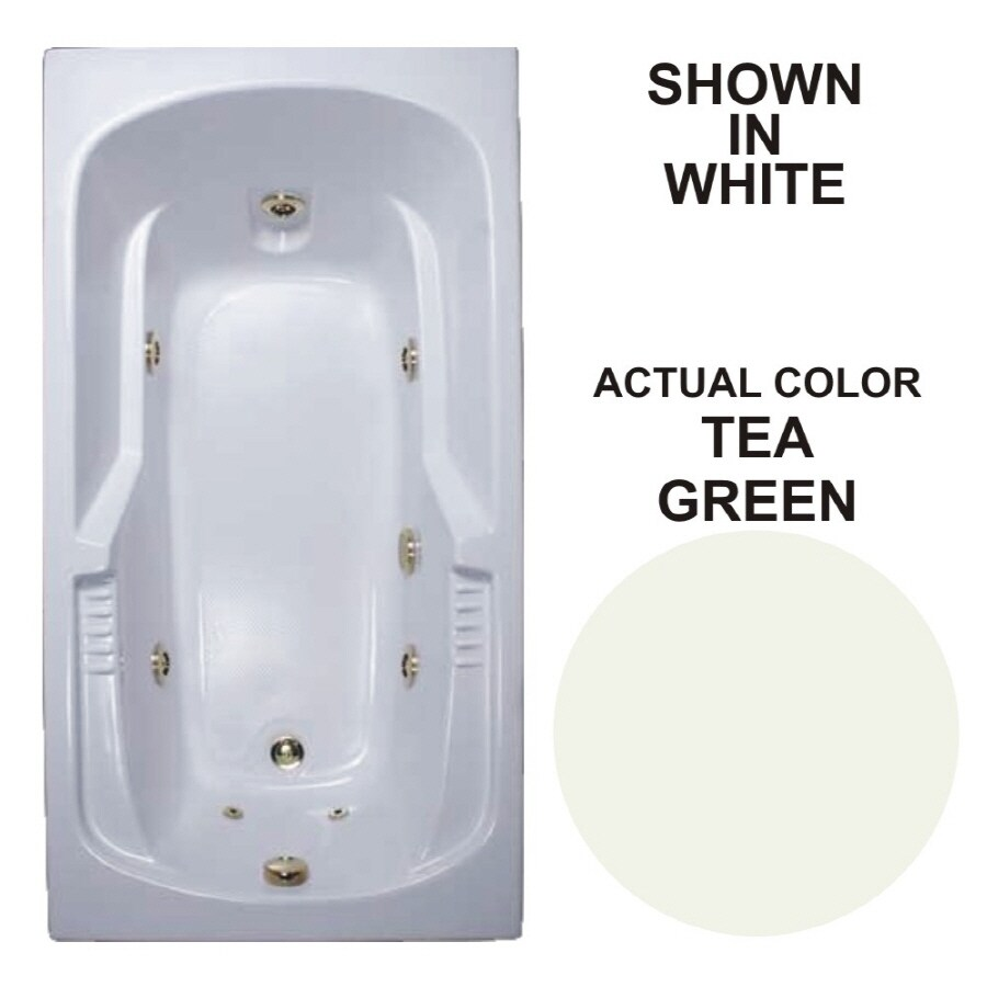 Watertech Whirlpool Baths Warertech 59.375-in Tea Green Acrylic Drop-In Whirlpool Tub with Reversible Drain