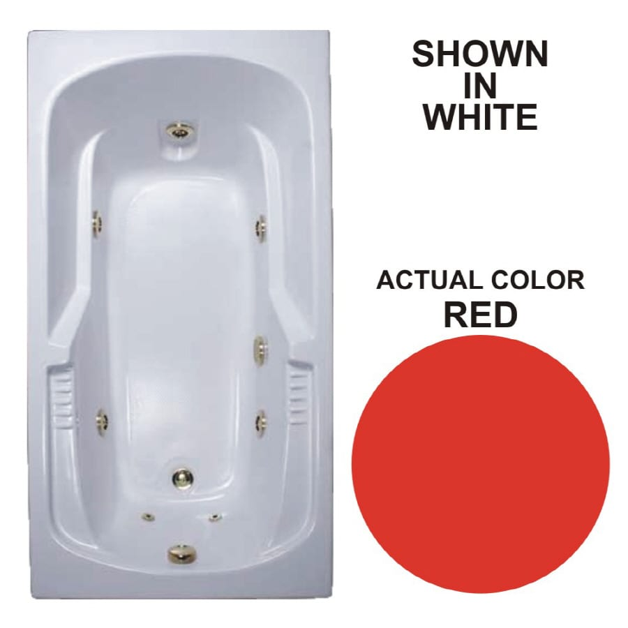 Watertech Whirlpool Baths Warertech 59.375-in Red Acrylic Drop-In Whirlpool Tub with Reversible Drain