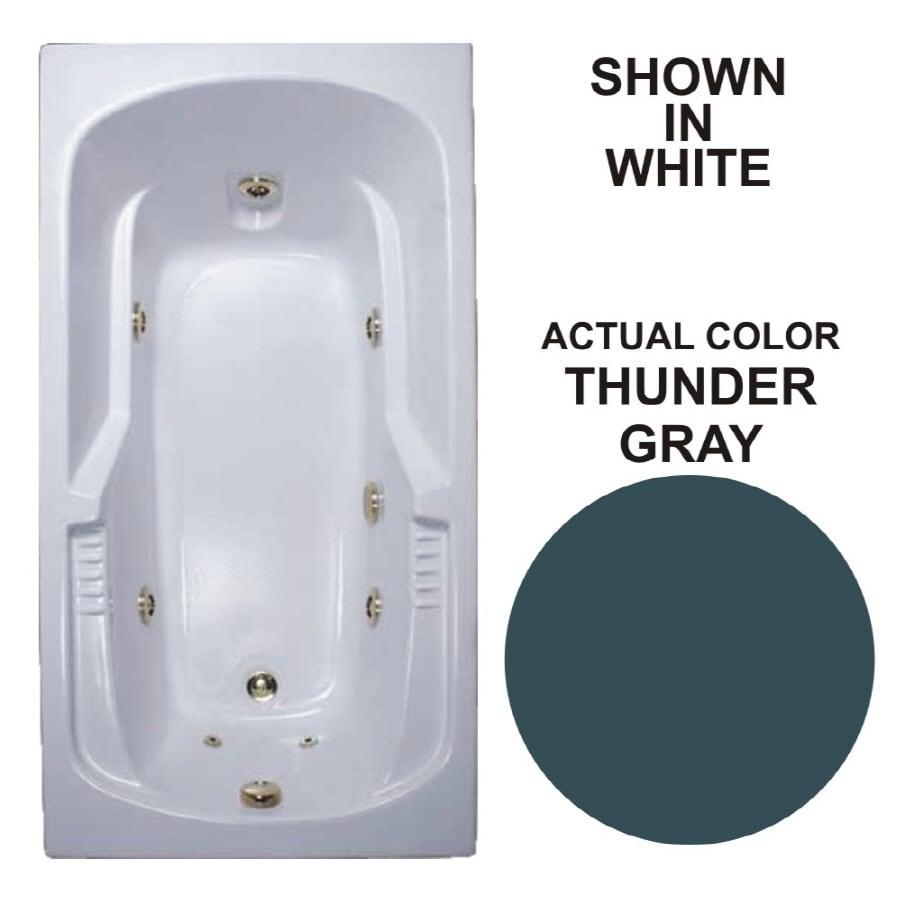 Watertech Whirlpool Baths Warertech 59.375-in Thunder Gray Acrylic Drop-In Whirlpool Tub with Reversible Drain