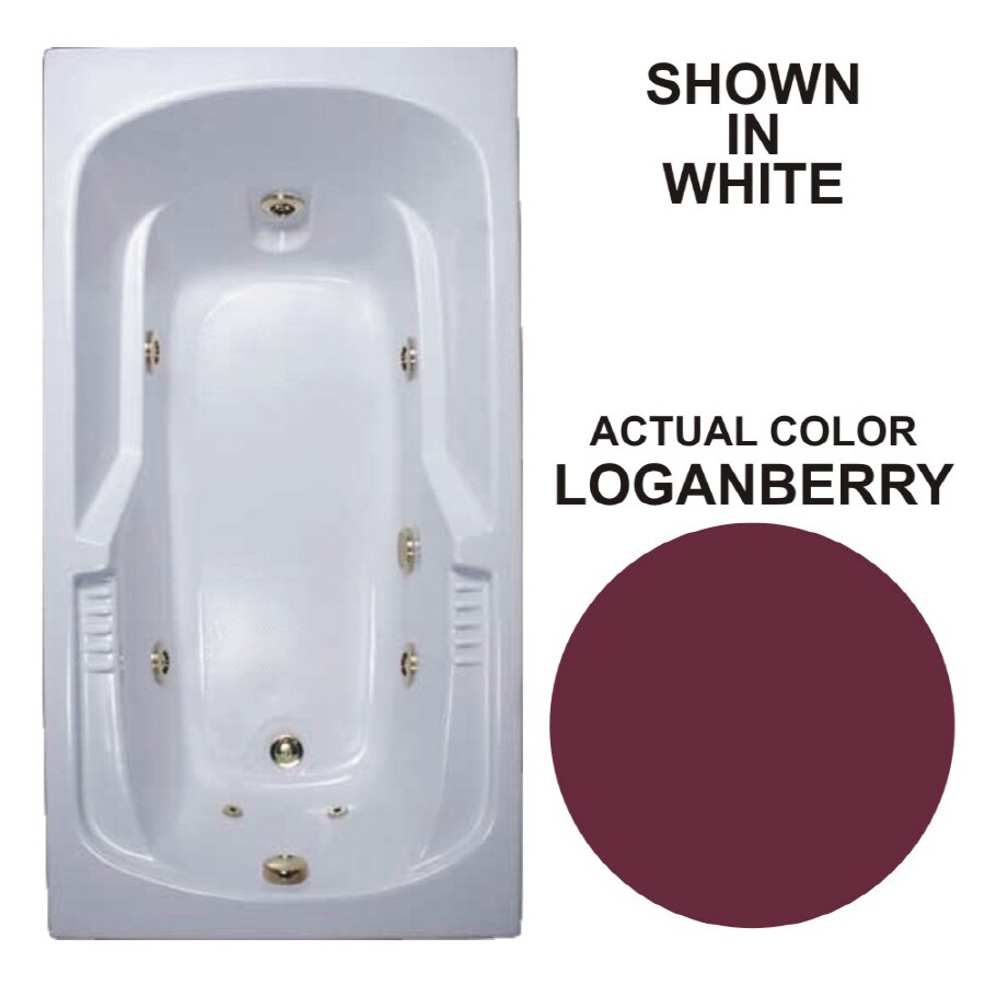 Watertech Whirlpool Baths Warertech Loganberry Acrylic Rectangular Whirlpool Tub (Common: 32-in x 60-in; Actual: 20-in x 31.5-in x 59.375-in)