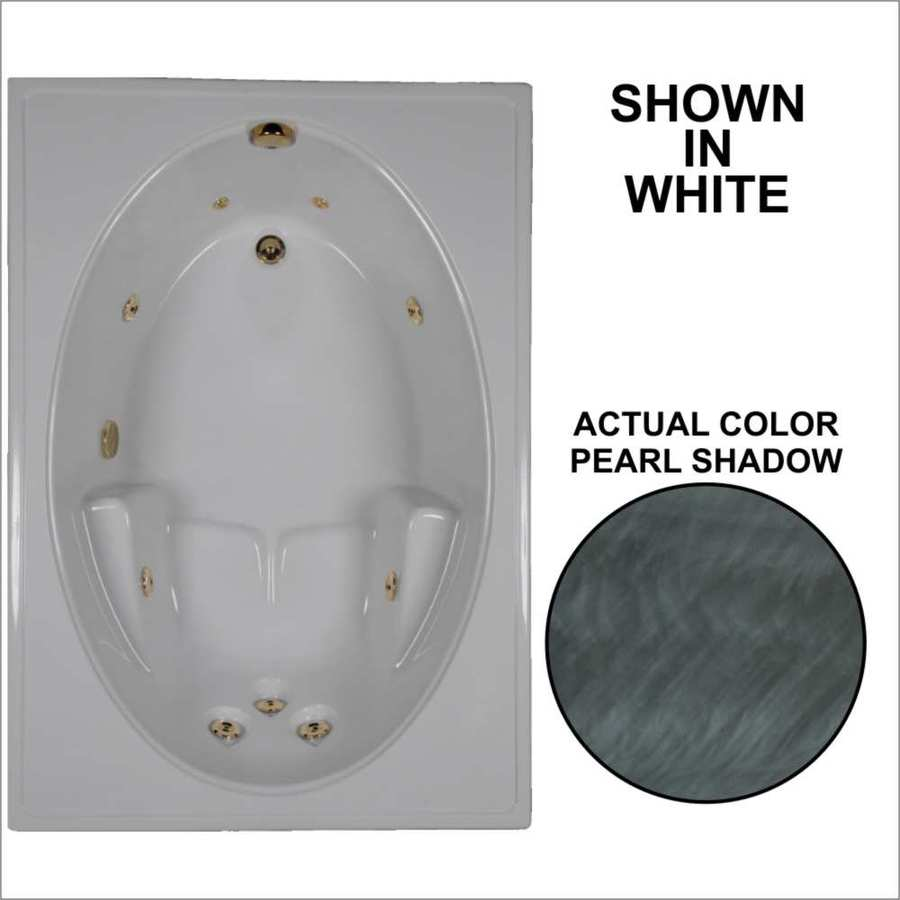 Watertech Whirlpool Baths Pearl Shadow Acrylic Oval In Rectangle Whirlpool Tub (Common: 42-in x 60-in; Actual: 19-in x 41.5-in x 59.75-in)