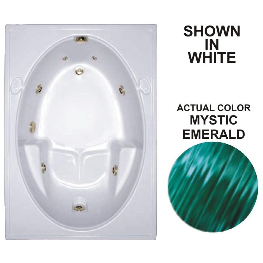 Watertech Whirlpool Baths Warertech 59.75-in Mystic Emerald Acrylic Drop-In Whirlpool Tub with Reversible Drain