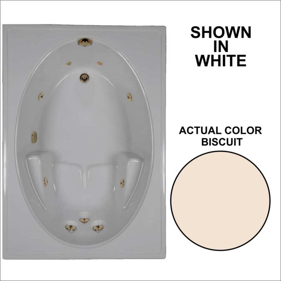 Watertech Whirlpool Baths Biscuit Acrylic Oval In Rectangle Whirlpool Tub (Common: 42-in x 60-in; Actual: 19-in x 41.5-in x 59.75-in)
