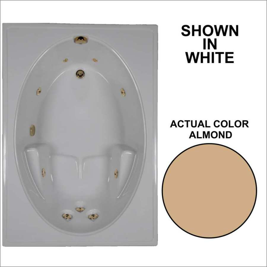 Watertech Whirlpool Baths 59.75-in Almond Acrylic Drop-In Whirlpool Tub with Reversible Drain